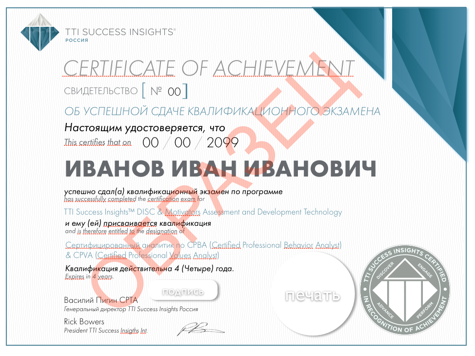 DISC & Motivators сертификат CPBA CPVA